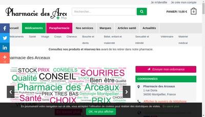 Site internet de Pharmacie des Arceaux