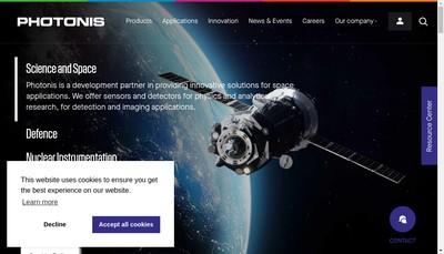 Site internet de Photonis Technologies