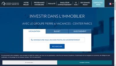 Site internet de Pierre et Vacances Conseil Immobilier