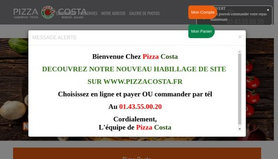 Site internet de Pizza Costa