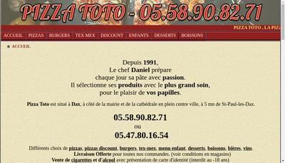 Site internet de Pizza Toto