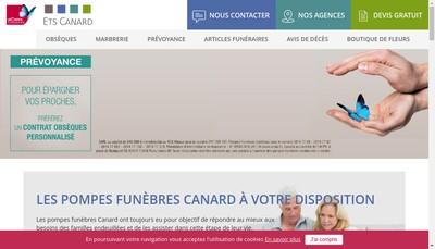 Site internet de Marbrerie Pompes Funebres Canard