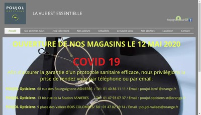 Site internet de Poujol Opticiens