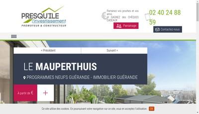 Site internet de Presqu'Ile Investissement