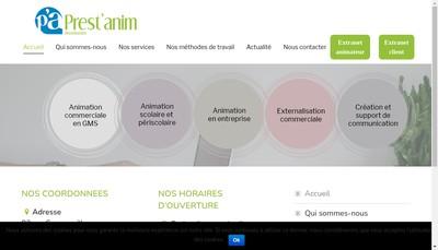 Site internet de Prest'Anim Distribution