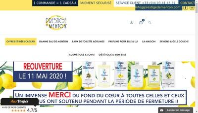 Site internet de Prestige de Menton et Eau de Menton