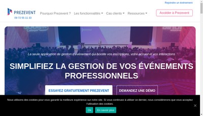 Site internet de Prezevent