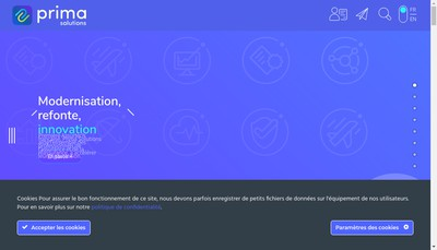 Site internet de Prima Solutions