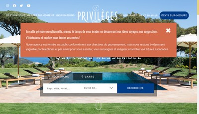 Site internet de Privileges Voyages