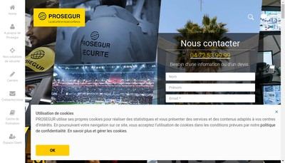 Site internet de Prosegur Securite Rapprochee