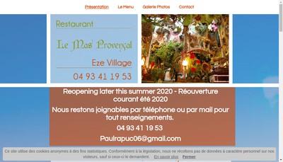 Site internet de Hostellerie du Mas Provencal