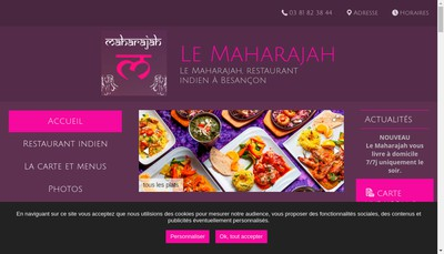 Site internet de Le Maharajah