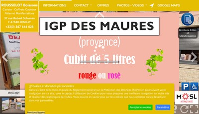 Site internet de Rousselot Boissons