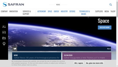 Site internet de Safran Reosc