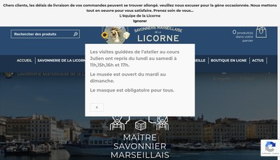 Site internet de Savonnerie Marseillaise de la Licorne