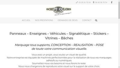 Site internet de Scriptcolors Publicite