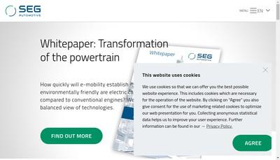 Site internet de Seg Automotive France SAS