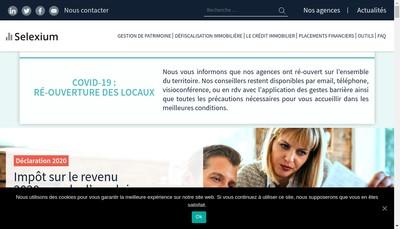 Site internet de Selexium Patrimoine Finance Conseil