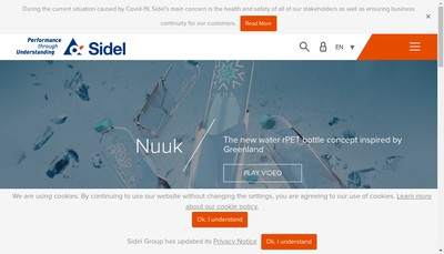 Site internet de Sidel Engineering & Conveying Solutions