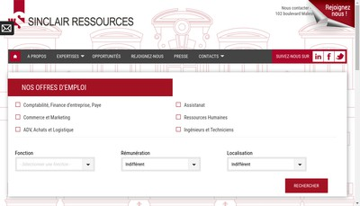 Site internet de Sinclair Ressources