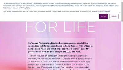 Site internet de Sofinnova Partners