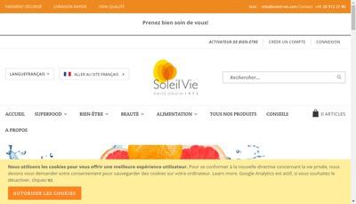 Site internet de Soleil Vie