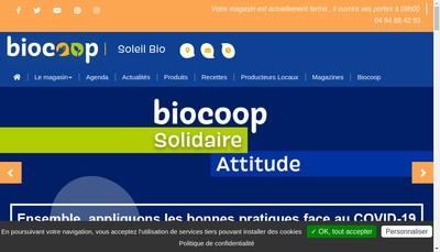 Site internet de Soleil Bio