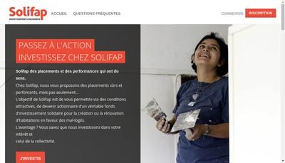 Site internet de Solifap Societe d'Investissements Solidaires de la Fondation Abbe Pierre