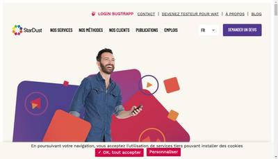 Site internet de StarDust, The Digital Testing Company
