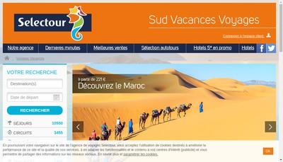 Site internet de Sud Vacances Voyages