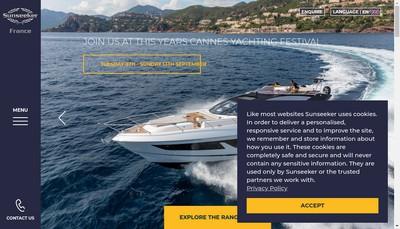 Site internet de Sunseeker Sales France Group