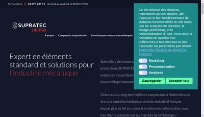 Site internet de Supratec Enomax et Suprasteam