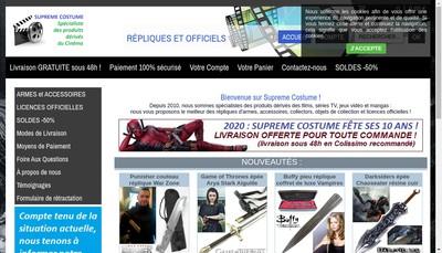 Site internet de Supreme Costume