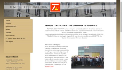 Site internet de Tempere Construction