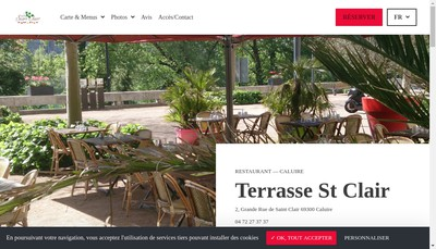 Site internet de La Terrasse Saint Clair