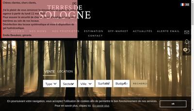 Site internet de Terres de Sologne Immobilier
