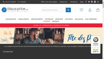 Site internet de Tissus Price