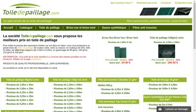 Site internet de Toile-de-Paillage Com