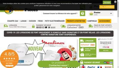 Site internet de Toutes Pieces Electromenager