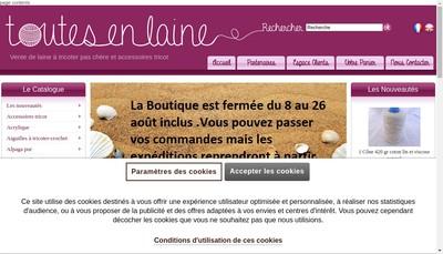 Site internet de Toutes en Laine