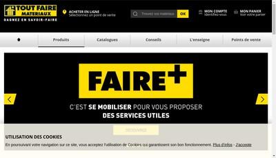 Site internet de Tout Faire Materiaux