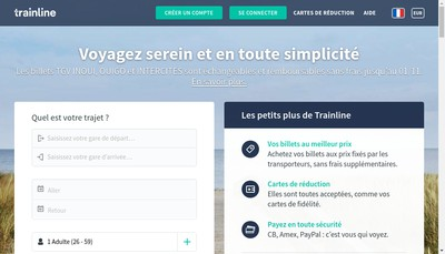Site internet de Capitaine Train