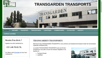 Site internet de SARL Transgarden
