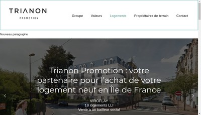 Site internet de Trianon Promotion