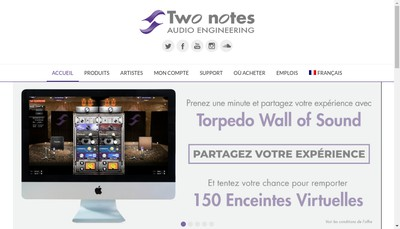 Site internet de Two notes