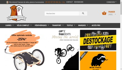 Site internet de Ultimate Cycle Distribution