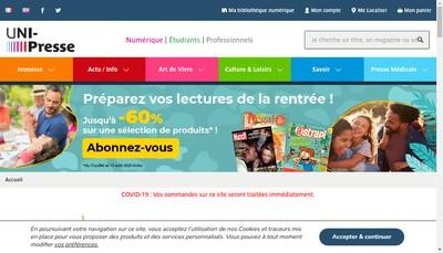 Site internet de Uni-Presse Presence des Presses de France Dans le Monde