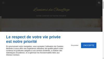 Site internet de L'Univers du Chauffage