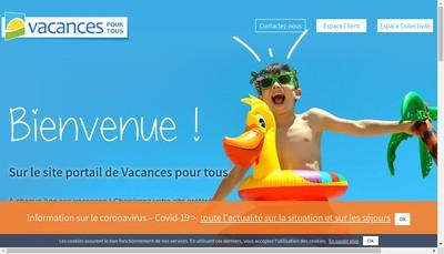 Site internet de Vacances pour Tous International