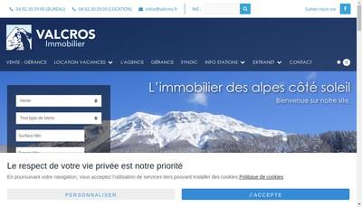 Site internet de Valcros Immobilier